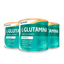 Kit 03 Aminoácido L-Glutamina 300g 100% Pura Loja Maxinutri -
