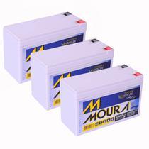 Kit 03 Baterias Gel Selada 12V 7ah - Moura No-break -