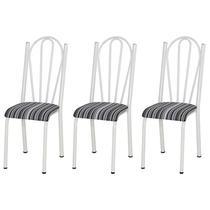 Kit 03 Cadeiras Tubular Branca 021 Assento Preto Listrado - Artefamol