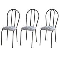 Kit 03 Cadeiras Tubular Cromo Preto 004 Assento Linho - Artefamol