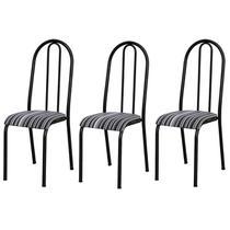 Kit 03 Cadeiras Tubular Cromo Preto 056 Assento Preto Listrado - Artefamol