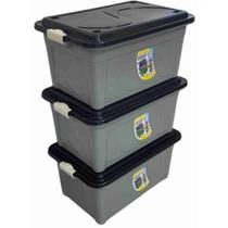Kit 03 Caixa Organizadora 60 Litros Plástico Multiuso Cinza com Tampa Preta Agraplast -