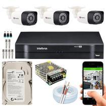 Kit 03 Câmera de Segurança HD Protec, DVR 4 Canais Intelbras MHDX 1104 com HD 160GB -