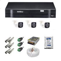Kit 03 Câmera de Segurança Protec e DVR 4 Canais Intelbras MHDX 1104 -