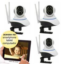 Kit 03 Câmeras de Segurança IP sem Fio Wifi HD 720p Robo Wireless com áudio Onvif - Jortan