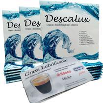 Kit 03 Descalcificante + 01 Graxa Limpeza Cafeteira compatível Saeco Gaggia Jura DeLonghi e outras - Descalux