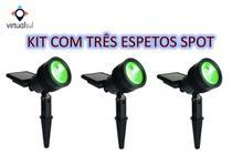Kit 03 luminária solar espeto spot solar superled 20lm verde - Ecoforce