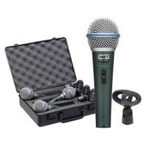 Kit 03 Microfone MXT Dinâmico Pro Bt-58A Metal Com maleta e Cachimbo -
