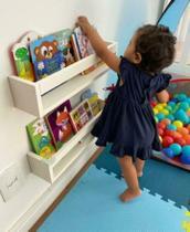 Kit 03 prateleiras nicho livros leiturinha infantil branca - Decor Em Cores