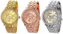 Kit 03 Relógios Geneva 2812 Dourado, Prata e Rosê -
