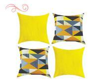 Kit 04 Almofadas Cheias 45x45 Decoração Casa Geométrico Amarelo - Mf Bordados