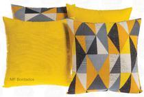Kit 04 Almofadas Cheias 45x45 Decoração Geométrico Amarelo - Mf Bordados