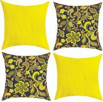 Kit 04 Almofadas Cheias 45x45 Decoração Modernas Amarela - Mf Bordados