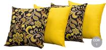 kit 04 almofadas Decorativas Maria Com Refil Arabescos Amarelo - Só Maria