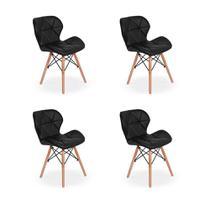Kit 04 Cadeiras Charles Eames Eiffel Slim Wood Estofada - Preta - Império Brazil Business