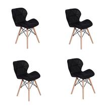 Kit 04 Cadeiras Charles Eames Eiffel Slim Wood Estofada - Preta - Magazine decor
