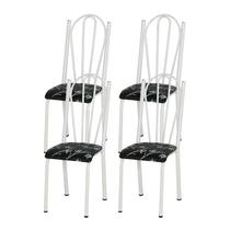 Kit 04 Cadeiras Tubular Branca 021 Assento Preto Florido - Artefamol