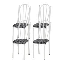 Kit 04 Cadeiras Tubular Branca 021 Assento Preto Listrado - Artefamol