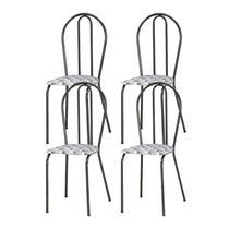 Kit 04 Cadeiras Tubular Cromo Preto 004 Assento Capitone - Artefamol
