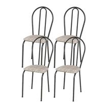 Kit 04 Cadeiras Tubular Cromo Preto 004 Assento Rattan - Artefamol