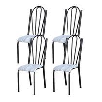 Kit 04 Cadeiras Tubular Cromo Preto 021 Assento Linho - Artefamol