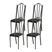 Kit 04 Cadeiras Tubular Cromo Preto 021 Assento Preto Florido - Artefamol