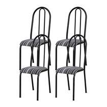 Kit 04 Cadeiras Tubular Cromo Preto 056 Assento Preto Listrado - Artefamol