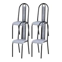 Kit 04 Cadeiras Tubular Cromo Preto 058 Assento Grafiato - Artefamol