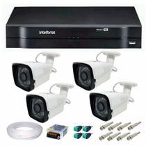 Kit 04 Câmeras de Segurança HD 720p + DVR Intelbras Multi HD + Acessórios -