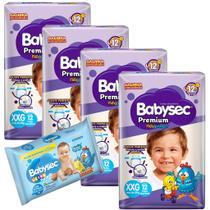 Kit 04 Fraldas BabySec GALINHA PINTADINHA Premium -XXG-48 unids + 01 Lenço Umedecido 92 Unids - Softys