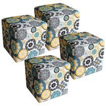 Kit 04 Puffs Quadrado Decorativo Tecido Floral Amarelo - Lyam Decor -