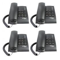 Kit 04 Telefones Intelbras Com Fio Mesa ou Parede Pleno Preto -