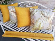 Kit 04 Unid Almofadas Cheias Decorativas Estampadas 45cm x 45cm Com Zíper + Veda Porta Poeira e Inseto Liso 80cm - Edtha Têxtil