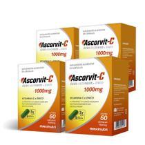 Kit 04 Unidades AscorVit C 1000mg Vitamina C Zinco 60 Cápsulas Loja Maxinutri -