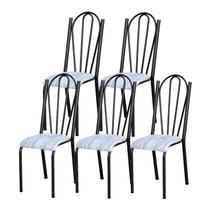 Kit 05 Cadeiras Tubular Cromo Preto 021 Assento Linho - Artefamol