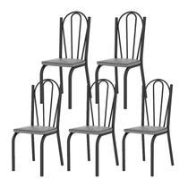 Kit 05 Cadeiras Tubular Preto Fosco 121 Assento Platina - Artefamol