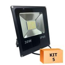 Kit 05 peças - holofote refletor led 30w branco frio 6500k bivolt - Powerxl