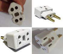 Kit 05 Pino Adaptador Plug Universal Bob Tomada Ideal Para Ligar Todo Tipo De Tomada 20a Para 10a - Plus
