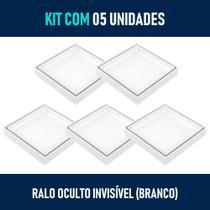 Kit 05 - Ralo Oculto Invisível de Embutir Quadrado (Branco) - Gemell