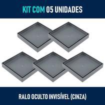 Kit 05 - Ralo Oculto Invisível de Embutir Quadrado (Cinza) - Gemell