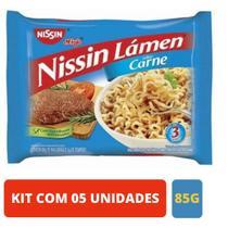 Kit 05 Unidades Macarrao instantâneo Miojo Nissin Sabor Carne  85g -