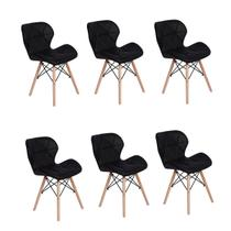 Kit 06 Cadeiras Charles Eames Eiffel Slim Wood Estofada - Preta - Magazine decor