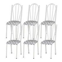 Kit 06 Cadeiras Tubular Branca 021 Assento Capitone - Artefamol