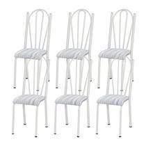 Kit 06 Cadeiras Tubular Branca 021 Assento Linho - Artefamol