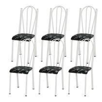 Kit 06 Cadeiras Tubular Branca 021 Assento Preto Florido - Artefamol