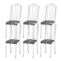 Kit 06 Cadeiras Tubular Branca 021 Assento Preto Listrado - Artefamol