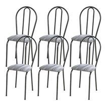 Kit 06 Cadeiras Tubular Cromo Preto 004 Assento Linho - Artefamol