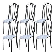 Kit 06 Cadeiras Tubular Cromo Preto 021 Assento Linho - Artefamol