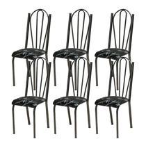 Kit 06 Cadeiras Tubular Cromo Preto 021 Assento Preto Florido - Artefamol