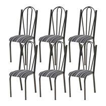 Kit 06 Cadeiras Tubular Cromo Preto 021 Assento Preto Listrado - Artefamol